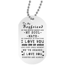 To My Boyfriend, Husband Dog Tag Chain - Meaningful Quote Valentines Gif... - $19.95