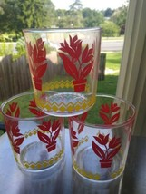 3 Hazel Atlas Vintage Sour Cream  Glasses Jar 1 Pint Red Tulip Design 4... - £10.02 GBP