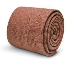 Frederick Thomas dusky pink brick men's 100% linen tie