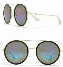 GUCCI ROUND TIGER Gold Unisex SUNGLASSES GG0061S 014 w/Case -JAPAN -Auth... - $327.24