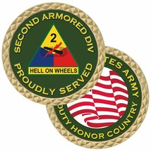"ARMY 2ND SECOND ARMORED DIVISION HELL ON WHEELS MILITARY 1.75""  CHALLENG... - $18.04"