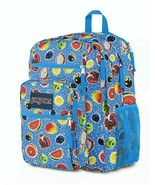 $60 NWT Jansport Big Student The Fruit is Fun Backpack W Laptop Pocket BLUE - $39.11