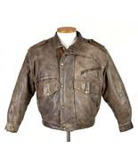 Vtg 90s Brown Leather Bomber Jacket Pilot Flight Lindbergh Print Lined M... - $39.59