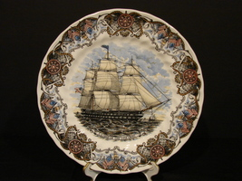 CHURCHILL CURRIER & IVES COLLECTORS PLATE TALL SHIPS US SHIP OF THE LINE... - $7.99
