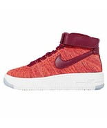 Nike Womens WMNS AF1 Flyknit, Total Crimson/Team RED, 5 US - $123.57