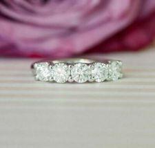 1.25Ct Round Cut Diamond Five-Stone Wedding Engagement Ring 14k White Gold Over - $81.99