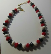 Vintage Signed Trifari Red White & Blue Plastic Bead Necklace - $22.77