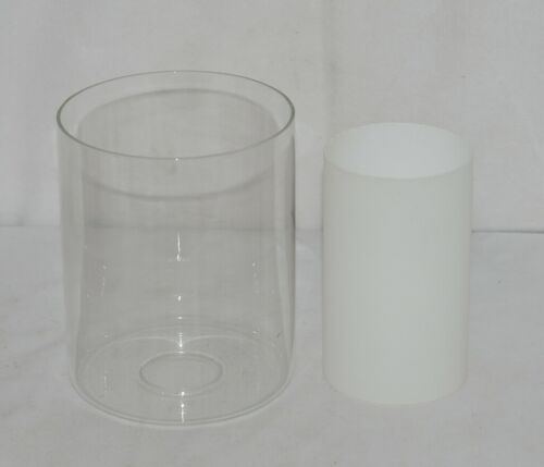 Unbranded Double Glass Cylindrical Glass Shade Frosted White Inside