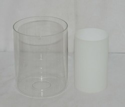 Unbranded Double Glass Cylindrical Glass Shade Frosted White Inside image 1