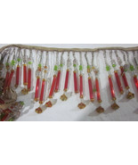 """47"""" ANTIQUE VINTAGE RED CZECH GLASS TUBE BEAD BEADED LAMPSHADE FRINGE TRIM - $145.00"""