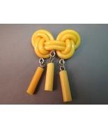 VTG Early Plastic Brooch Butterscotch Yellow Kn... - $31.67