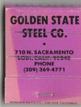 Vtg Strike on Matchbook  ~ Golden State Steel CO. ~ Lodi, Ca - $9.89