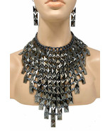Graphite-Gray-Black Statement Bib Necklace Earrings Set Urban, Goth, Dra... - $83.60
