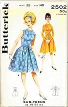 Uncut 1960s Size 14 S Bust 33 V-darted Dress Wrist Zippers Classy Butter... - $6.99