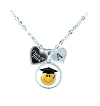 Custom Class of 2018 Graduation Smiling Emoji Silver Necklace Choose Initial BFF - $14.24