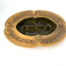 Vtg 70s USA Mid Century HAEGER 1068 Yellow Gold AshTray Wheat Leaf Baroque - $27.02