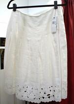 DKNY White Linen Eyelet Hearts Skirt Sz 6 $245 Style # P291713CA - $117.71
