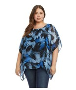 NEW KAREN KANE BLUE FLORAL OVER SIZE TUNIC BLOUSE SIZE 0X 1 X WOMEN $128 - $34.99