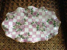 "MacKenzie Childs PINK Honeymoon Check Ceramic Serving Large 16"" Tray Pla... - $346.50"