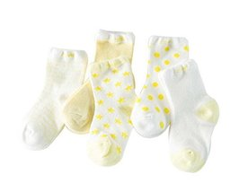 Five Pairs Summer Thin Section Mesh Cotton YELLOW Baby Socks