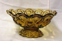 Moon and Stars Amber L E Smith Fruit Bowl Candy Pedestal Dish Mint Vintage - $39.17