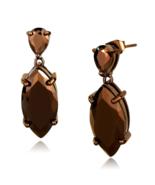 Women's Brass CZ Brown Light Coffee Marquise Dangle & Drop Earrings - $27.30