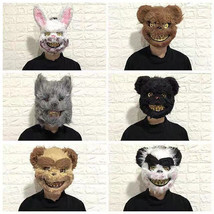 Halloween Bloody Animal Mask Horror Mask Cosplay Party Scary Mask Brown ... - £10.47 GBP