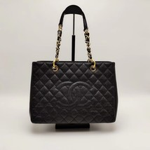 AUTH CHANEL QUILTED CAVIAR GST GRAND SHOPPING TOTE BAG GOLD HW image 1