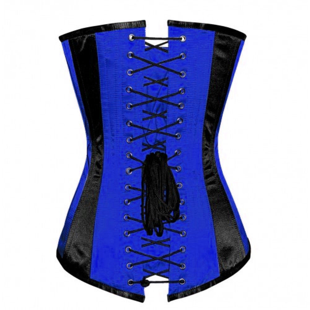 Blue Black Satin Gothic Burlesque Waist Trainer Bustier LONG Overbust Corset Top