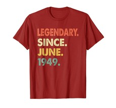 Tee Shirt -  69th Birthday Gifts Vintage Legendary 1949 Shirt Awesome Te... - $19.95+
