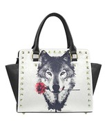 InterestPrint Wolf Women's Rivet PU leather Shoulder Bag Handbag - $35.81