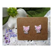 Pink Kitty Stud Earrings Kids Earrings Small Silver Enamel Taxco Broqueles - $12.00