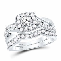 14kt White Gold Round Diamond Bridal Wedding Engagement Ring Band Set 1.00 Ctw - £1,310.17 GBP