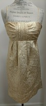 BCBG Paris Gold Metallic Empire Waist Mini Dress Spaghetti Strap Open Ba... - $38.61