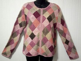 Talbot's Petites Women's Large multicolored Patches Knit Zipper Sweater Cardigan - $32.56