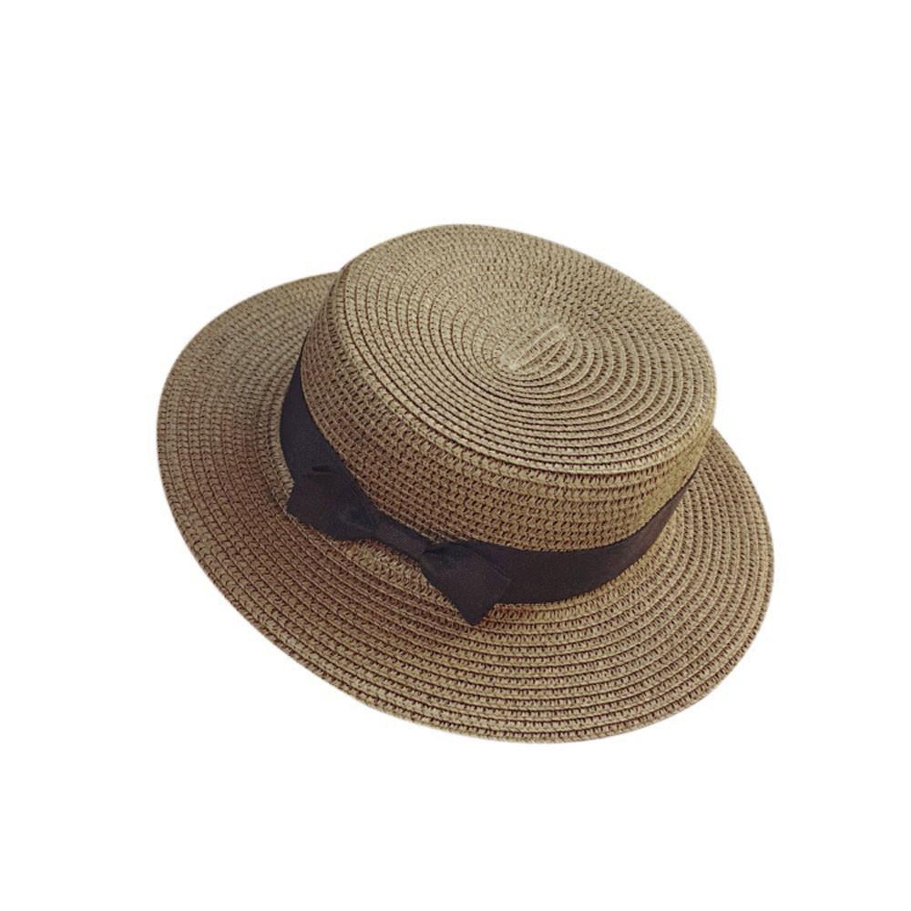 Floppy Foldable Ladies Women Straw Beach Sun Summer Hat Beige Wide Brim Breathab image 2