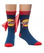 Big Bang Theory Bazinga Logo Blue/Red Crew Socks With Cape, LICENSED NEW... - $10.65