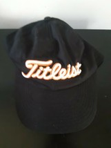 Titleist Golf Hat Cap Black White Stitched Letters One Sz Adjustable 100... - $22.72
