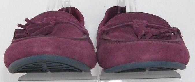 Crocs 'Lina' purple suede stitched round toe tassel slip on loafer flats 9
