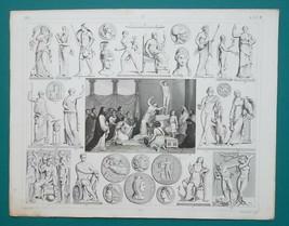 MYTHOLOGY Delphian Oracle Gods Nux Nike Juno Minerva Zeus - 1844 Antique... - $24.84
