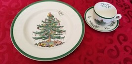 Spode Christmas Tree 3 Piece Buffet Set Dinner Plate Cup and Saucer Porcelain - $18.80