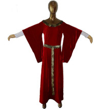 Womens Renaissance Gown Costume Medieval Medium Dress Red Velour Brocade - $69.99
