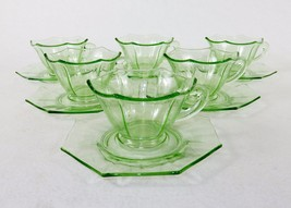 Set of 6 Hexagon Tea Cups & Octagon Saucers, Fancy Green Depression Glas... - $146.02