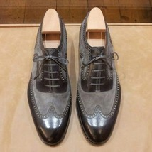 Handmade Men's Leather And Suede Wing Tip Brogue Lace Up Oxford Shoes image 5