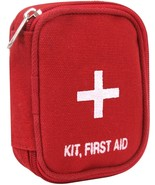 Tactical First Aid Kit Red Canvas Pouch with White Cross Side Zipper Min... - $7.99