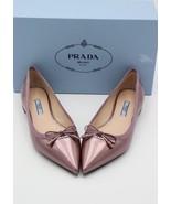 NIB PRADA Logo Bow Mauve Leather Pointy Toe Ballet Flat Shoes 7 37 New $590 - $345.00