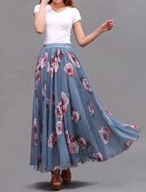 FLORAL Chiffon Long Skirt Dusty Blue Flower Silk Chiffon Skirt Summer Wedding  image 5