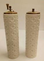 Vintage Lenox May Fair Pattern Ivory & Gold Tall Salt Shaker & Pepper Grinder - $45.09