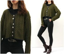 Vintage Peasant Ethnic Crop Cardigan / Moss Chunky Knit Buttoned Sweater... - $42.08