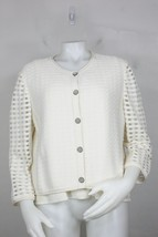 St John knit jacket vest set L new white button front checked arms see t... - $200.00